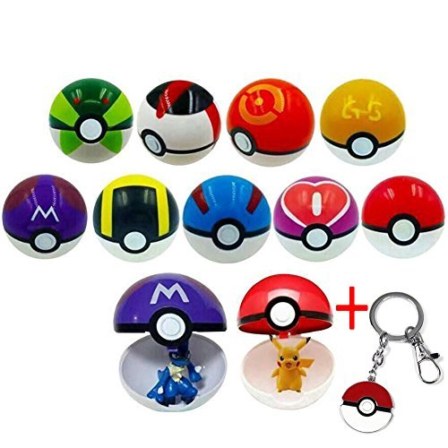 1 Set Pokemon Center Pokeball Master Ball with Random Figure Cosplay Pop-up Action Figures Fun Toys for Kid Children's Birthday Christmas Gift(9 Balls + 9 Action Figures) by prizemall