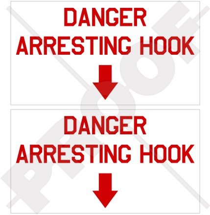 "DANGER ARRESTING HOOK Pericolo USAF US Marina Militare Aeromobile Stati Uniti 4"" (100mm) Adesivi in Vinile Sticker Decalcomanie x2"