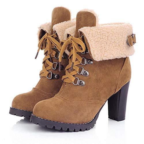 ❤️ Botines con Plataforma a Prueba de Agua Mujeres, con Cordones Botas Cortas Gruesas Zapatos Ocio Botines Botas de tacón Alto Zapatos de otoño Invierno Absolute