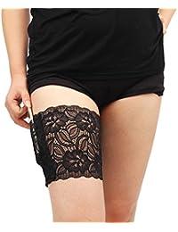 TININNA Moda Encaje Elástica calcetín del encaje LEG Imposta elásticas evitano lo sfregamento Bandelettes banda muslo calentadores para mujeres negro M