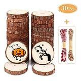 SOLEDI Holzscheiben 30 STÜCKE 5-6 cm mit Loch und glatter Oberfläche Holzkreise enthalten Kraftpapierbox, Juteschnurschnur, Baumwollschnur und Organza-Geschenkbeutel