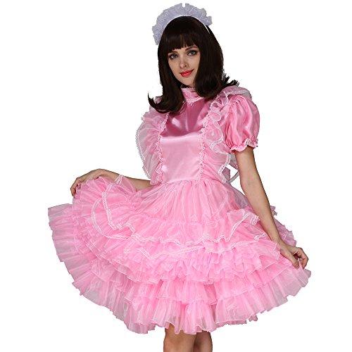Gocebaby Sissi Mädchen Dienstmädchen Satén Organza Abschließbar Puffy Kleid Kreuzkleid (XL) -