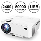 Projector, 2018 DBPOWER Mini Projector with Mirror Display 2400 Lumens, 50,000 Hours, Home Theater Projector 1080P / HDMI / VGA / USB / TV Box / iPhone / iPad / Android / Laptop / DVD / External Speakers Supported