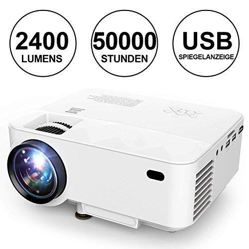Mini Beamer, 2018 DBPOWER Mini Projektor mit Spiegel Display 2400 Lumen, 50.000 Stunden, Heimkino-Projektor 1080 P / HDMI / VGA / USB / TV-Box / iPhone / iPad / Android / Laptop / DVD / Externe Lautsprecher unterstützt