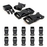 Klickverschluss aus Kunststoff im 10er Set, 5/8'' Klippverschluss/Steckschließer/Steckverschluss für Paracord-Armbänder, Hunde-Halsbänder, Rucksack, Farbe: schwarz