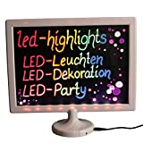 LED-Highlights Deko Schreibtafel Leuchtschild 32 x 28 cm Led Rahmen weiß Leuchttafel Werbeschild 8 Neon Stifte Buchstaben bunt beschreibbar