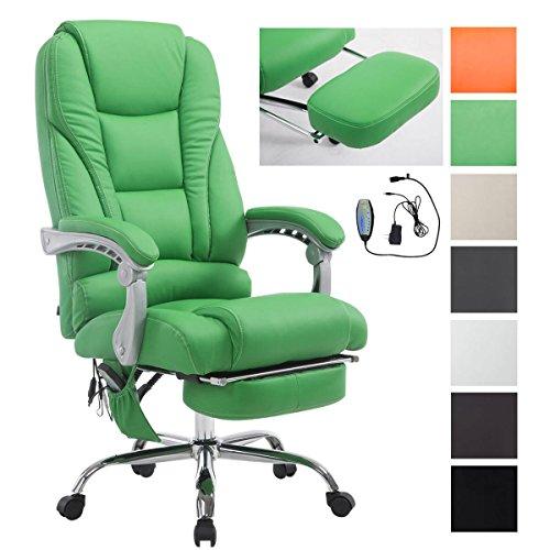 CLP Chefsessel Pacific V2 mit Massagefunktion l Relaxsessel mit ausziehbarer Fußablage l Max. Belastbarkeit von 150 kg l Bürosessel mit Kunstlederbezug Grün