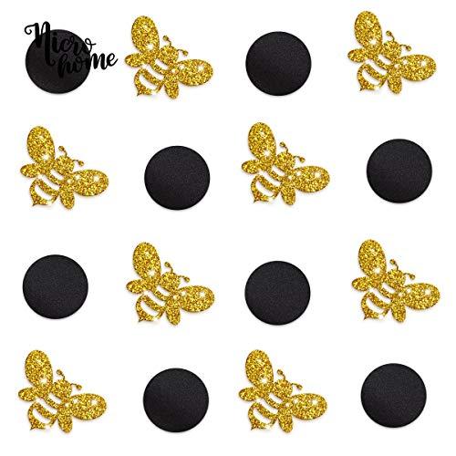 NICROLANDEE Gold Glitter Bumble Bee Konfetti - 100G Mommy to Bee Thema Bee und Black Circle Tabelle Konfetti für Geschlecht enthüllen schwangeren Geburtstag Baby Shower Party Dekorationen