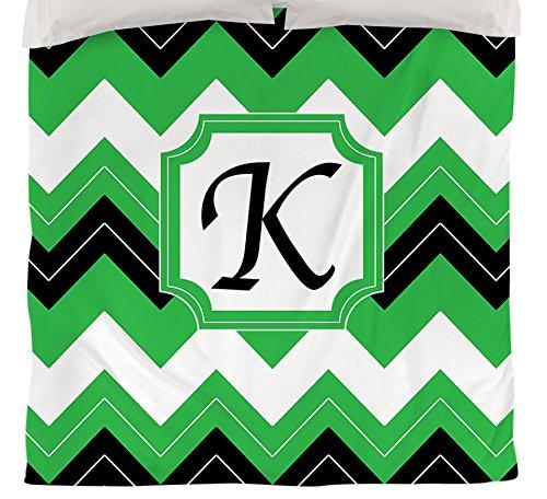 Manuelle holzverarbeiter & Weavers Bettbezug-, Monogramm Buchstabe K, schwarz Chevron (Schwarz Und Chevron Tagesdecke Weiß)