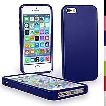 igadgitz Azul Case TPU Gel Funda Cover Carcasa para Nuevo Apple iPhone SE 5S 5 Teléfono Móvil 4G LTE + Protector de pantalla (no apto para iPhone 5C)