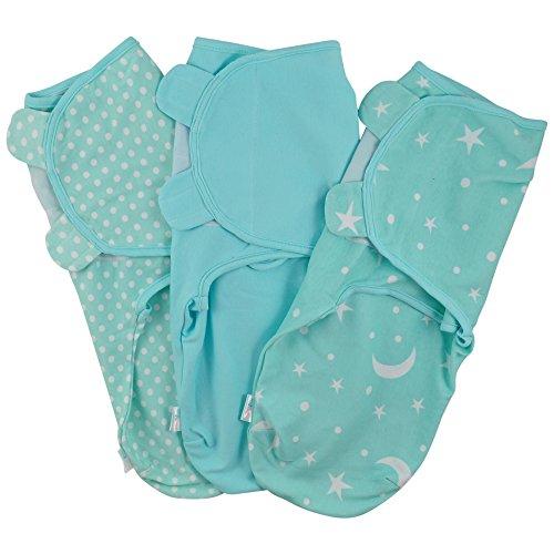 Juicy Bumbles Baby Pucksack Wickel-Decke - 3er Pack Universal Verstellbare Schlafsack Decke für Säuglinge Babys Neugeborene 0-3 Monate Grün