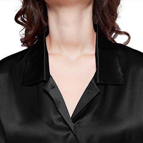 LILYSILK Zauberhaft Seide Nachtshirt Nachthemd Damen Kurz Langarm 22 Momme Schwarz