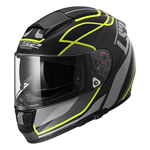 LS2 103972653XS FF397 Casco Vector Vantage, Color Negro Mate Hi/Vis Am