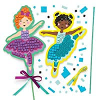 Baker Ross Ballerina Mosaic Wand (Pack Of 4) Kits For Children To Make & Display