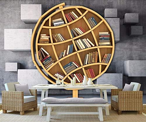 Kuamai Benutzerdefinierte 3D Wallpaper Für Wände Kunst Bücherregal Bibliothek 3D Fototapete Wohnzimmer Badezimmer Wandmalerei-400X280cm (Abstract Bücherregal)