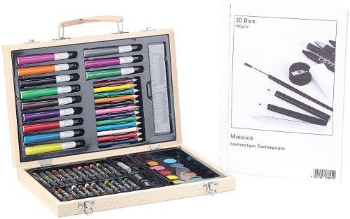 Playtastic Malkoffer: Malkasten 67-teilig mit Malblock 80g/m² 30Blatt (Malkasten Komplettsets)
