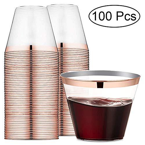 Nuptio 100 Stück Einweg-Kunststoff-Weingläser - Trinkbecher-Sets - 250ml Rose Golden Rimmed Drinkware Für Party, Hochzeit, Camping, Strand Und Picknick (Weingläser Strand)