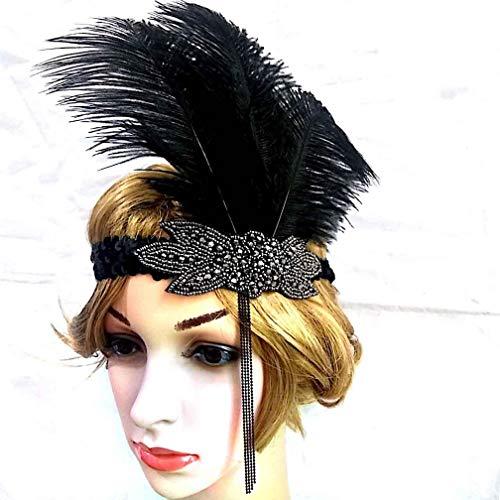 UGUAX Damen Vintage Schwarz Feder Silber 20er Jahre Brautschmuck Kopfschmuck 1920er Jahre Flapper Fascinator Stirnband