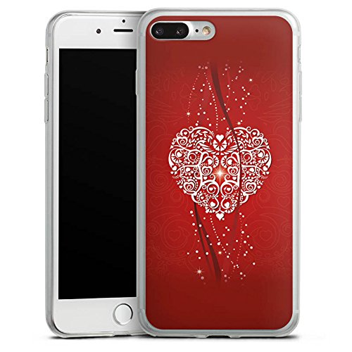 Apple iPhone 8 Plus Slim Case Silikon Hülle Schutzhülle Liebe Herz Valentinstag Silikon Slim Case transparent