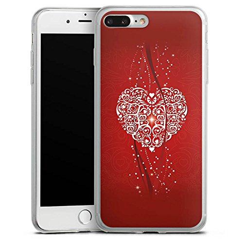 Apple iPhone 8 Plus Slim Case Silikon Hülle Schutzhülle Liebe Herz Valentinstag Silikon Slim Case transparent