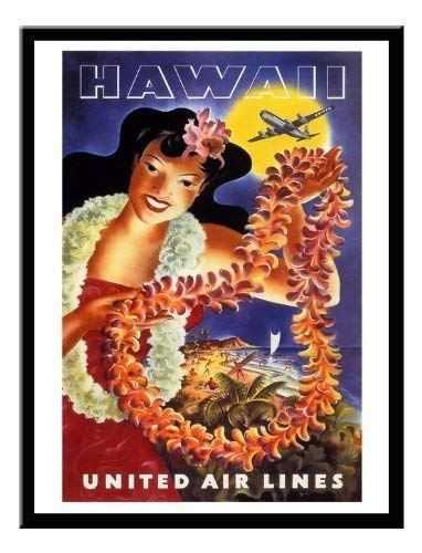Hawaii United Airlines (iPosters Hawaii United Airlines Travel Print Memo Board, Magnet schwarz gerahmt-41x 31cms (ca. 40,6x 30,5cm))