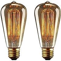 YUNLIGHTS 2pcs ST64 Edison Lampadina Vintage 40W Dimmerabile Retro Stile Incandescente E27 220-240V Bianco Caldo