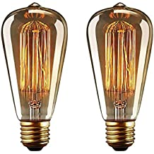 Bombilla E27 Vintage Edison Lamparas Antigua Bombillas Retro Decorativas Regulable Lampara Bulbo Filamento ST64 220-240V 40W Blanco Cálido - 2 Piezas
