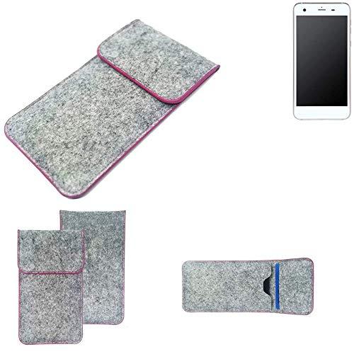K-S-Trade® Filz Schutz Hülle Für -Vestel V3 5570- Schutzhülle Filztasche Pouch Tasche Case Sleeve Handyhülle Filzhülle Hellgrau Pinker Rand