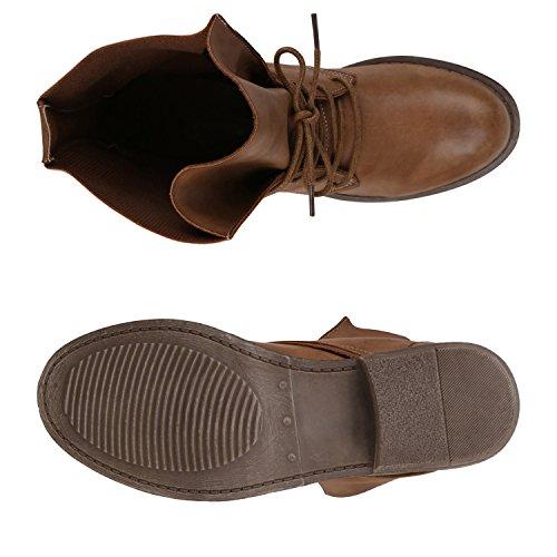 Stiefelparadies Damen Schuhe Desert Boots Schnürschuhe Camouflage Stiefeletten Leder-Optik Blockabsatz Booties Muster Flandell Hellbraun Schnürung Autol