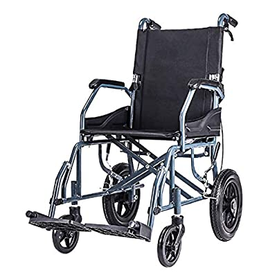 ACEDA Transport Wheelchair With Lightweight Thick Steel Frame,10Kg Folding Chair Is Portable,Front And Rear Brake,Weight Capacity 100KG,Black