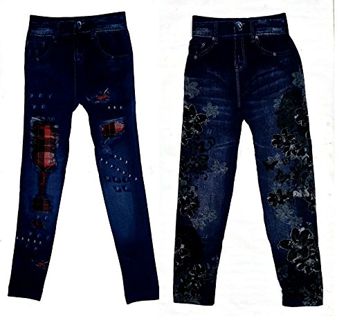 Light Gear Girl's Denim Leggings (Combo A)Above 12 Yrs