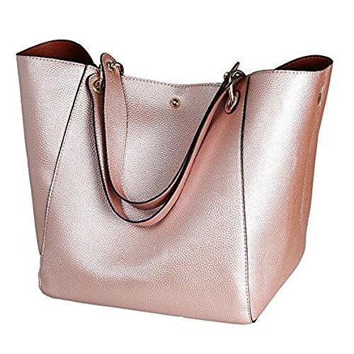 Leder 8 Farben Neu Elegant Große Handtasche Europäische stil Schultertaschen Umhängetasche Shopper Tasche Henkeltasche Beuteltasche Weich Damentasche (Rose Gold) (Lila Fossil Handtaschen)