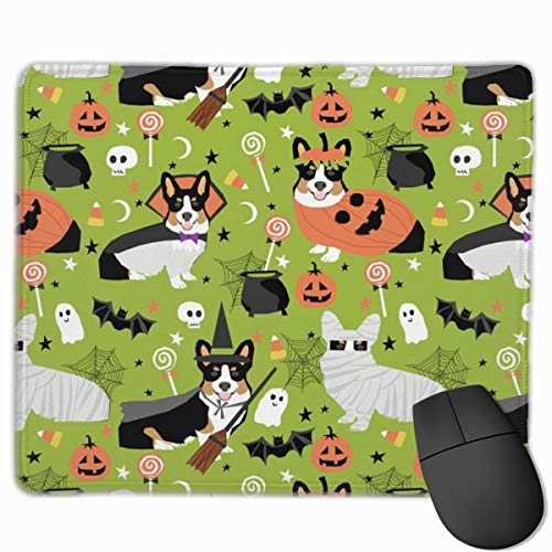 Tri-Colored Corgi Halloween Costumes Mummy Vampire Ghost Just Dog Light Green Mousepad 18x22 cm