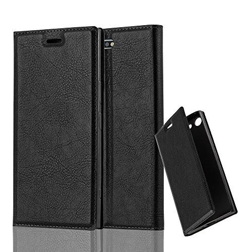 Cadorabo Hülle für Sony Xperia XZ Premium - Hülle in Nacht SCHWARZ – Handyhülle mit Magnetverschluss, Standfunktion und Kartenfach - Case Cover Schutzhülle Etui Tasche Book Klapp Style