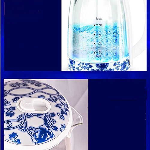GXIAO Kitchen & Home Appliances Electric Kettle Chinese Style Mini Anti-scald Glass PP + 304 Stainless Steel 2L 1850W Blue and White 16 * 26cm Electric Kettles Hot Water Dispensers
