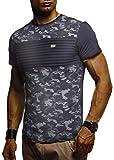 LEIF NELSON Herren T-Shirt Rundhals Ausschnit Sweatshirt Longsleeve Basic Shirt Hoodie Slim Fit LN405; XXL, Dunkel Blau