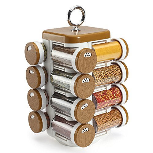 JVS Food Grade High Quality Plastic 16 Spice Jar, 6.5X6.5X11.5, Wood Finish  available at amazon for Rs.935
