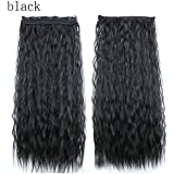 DEESEE(TM) Womens Wavy Curly Long Hair Wig Lady Full Wigs Party Cosplay wig (Black)