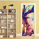 muysde Selbstklebende Tür Aufkleber 3D Cartoon Abstrakte Kunst Baum Tapete Kinder Schlafzimmer Wohnkultur Tür Aufkleber Wandaufkleber 77 * 200 cm