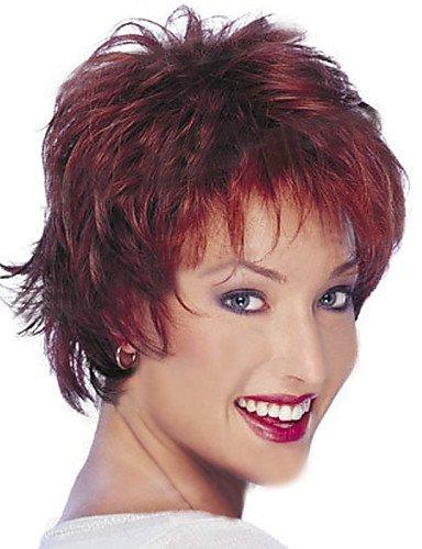 BBDM Perruques perruques synthétiques moyennes de courte longueur synthétique femme naturelle , 12 inch-fuxia