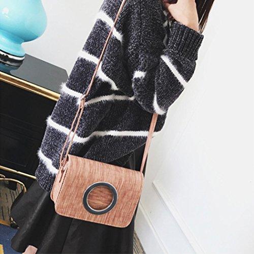 BZLine® Frauen Leder Bags Dekoration Metall Ring Crossbody Umhängetaschen Pink