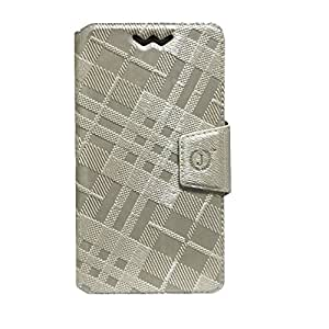 Jo Jo Cover Krish Series Leather Pouch Flip Case With Silicon Holder For Alcatel Pop S9 Light Golden