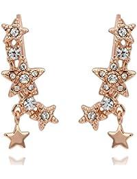 Ear cuff cristal de estrellas Pendientes chapados en oro-Colgante de volantes'oreille lobe oreja