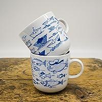Kaffeebecher 2er-Set - Motiv Fische & Faltboote - Maritime Porzellan-Tasse original aus dem Norden