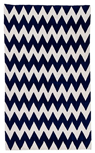 Zaida 1 pieza 150 x 90 cm lana/algodón zig-zag alfombra, azul marino