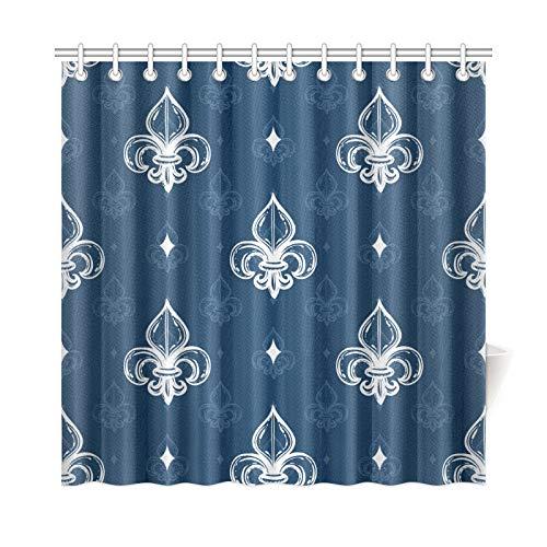 AGIRL Home Decor Bad Vorhang Heraldische Nahtlose Muster Mit Klassischen Königlichen Fleur Polyester Stoff Wasserdicht Duschvorhang Für Badezimmer, 72 X 72 Zoll Duschvorhänge Haken Enthalten