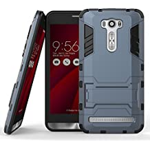 "Zenfone 2 Laser ZE601kL 6.0"" Hybrid Funda DWaybox Armor Design con Stand-up Feature 2 In 1 Combo Dual Layer Detachable Protective Shell Phone Hard Back Funda Carcasa para ASUS Zenfone 2 Laser ZE601kL 6.0inches (Black Plus Gray)"
