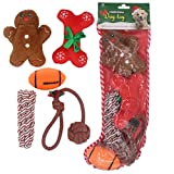 HOMIMP 5 Pack Dog Toys Stocking Christmas - Assorted Set Including Squeak Toy and Chew Toy for Doggies
