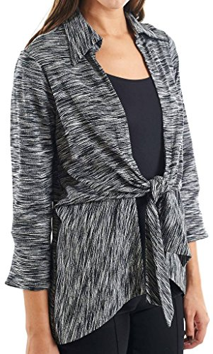 Joseph Ribkoff Black & White Relaxed Fit Tie Closure Coverup Style 154859