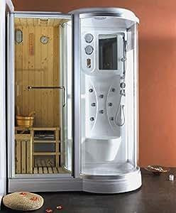 Box Doccia Idromassaggio 168x95 con Sauna Finlandese incorporata Cromoterapia Bagno Turco versione Destra